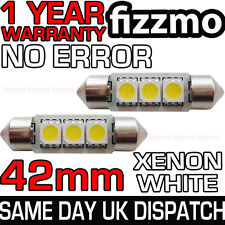 2x 42mm 3 SMD LED 264 C5W CANBUS NO ERROR FREE WHITE INTERIOR LIGHT FESTOON BULB