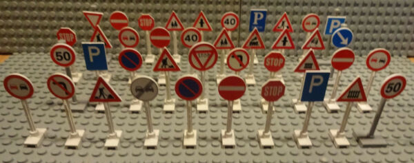 (g9/8) Lego 10x Cartelli Stradali Verkehrschild 6306 Konvolut Usato Sentirsi A Proprio Agio