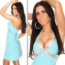 SeXy MiSS Glamour Pailletten Neck Mini Kleid türkis silber 34/36/38 NEU
