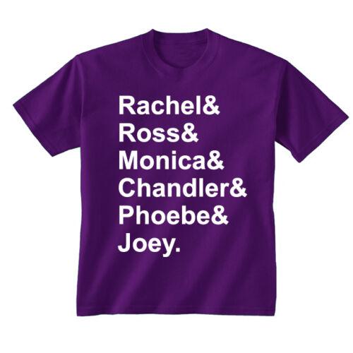 Kids Friends Names Rachel Ross Monica Chandler Phoebe Joey T-shirt Age 5-13