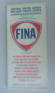 Details about 1964 Central & Western United States road map Fina gas oil  early interstate