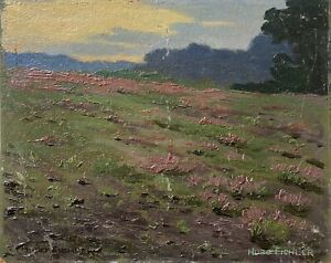 HUGO-EICHLER-Berlin-landscape-in-the-evening-sun-Painting-Study-19-x-24-cm