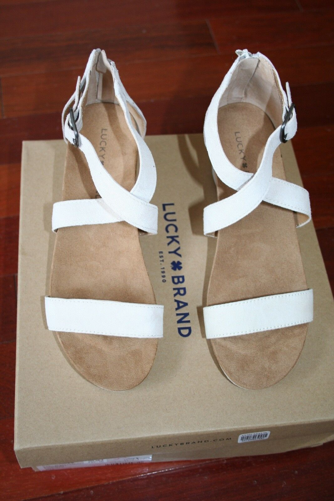 NWB-LUCKY BRAND SIZE 8M SUEDE SUEDE SUEDE ANKLE SANDALS W WEDGE HEEL 9ec6bb
