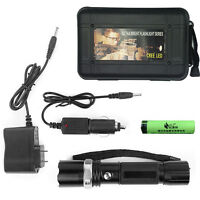 Rechargeable Flashlight Police Waterproof 3w Safety Torch 2 Chargers Battery Set