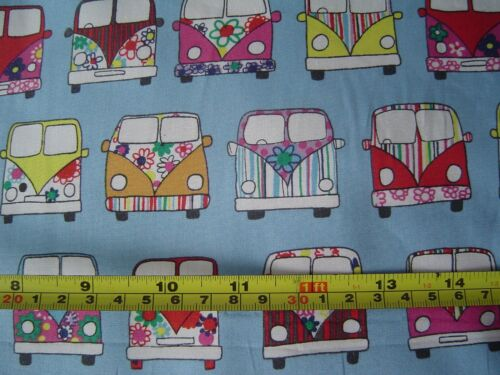 100/% Cotton Poplin FQ//Metre VW Camper Van Blue Fabric