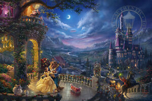 Thomas Kinkade Disney Beauty and the Beast Dancing 18 x 27 S/N LE Paper