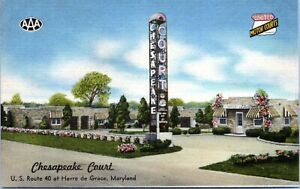 Havre-De-Grace-Maryland-Chesapeake-Court-Motel-Roadside-Linen-1930s-Postcard