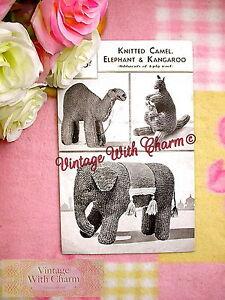 Elephant Kangaroo /& Joey Vintage Toy Knitting Pattern Camel