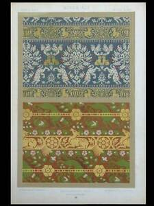 SOIERIES MOYEN AGE - LITHOGRAPHIE 1877 DUPONT-AUBERVILLE- ORNEMENT TISSUS kEJBgd8A-07195642-603588806