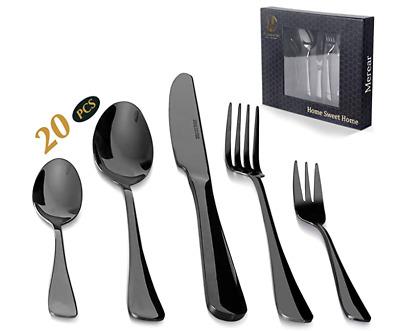 20 Piece Silverware Set Stainless Stee Laser Pattern Flatware Cutlery Set Black