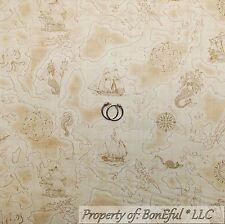 BonEful Fabric FQ Cotton Quilt Brown PIRATE Ship Sail Boat Ocean Boy Map S Toile