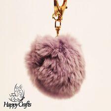 Fluffy Ball Bag Clip Key Ring Lilac Light Purple