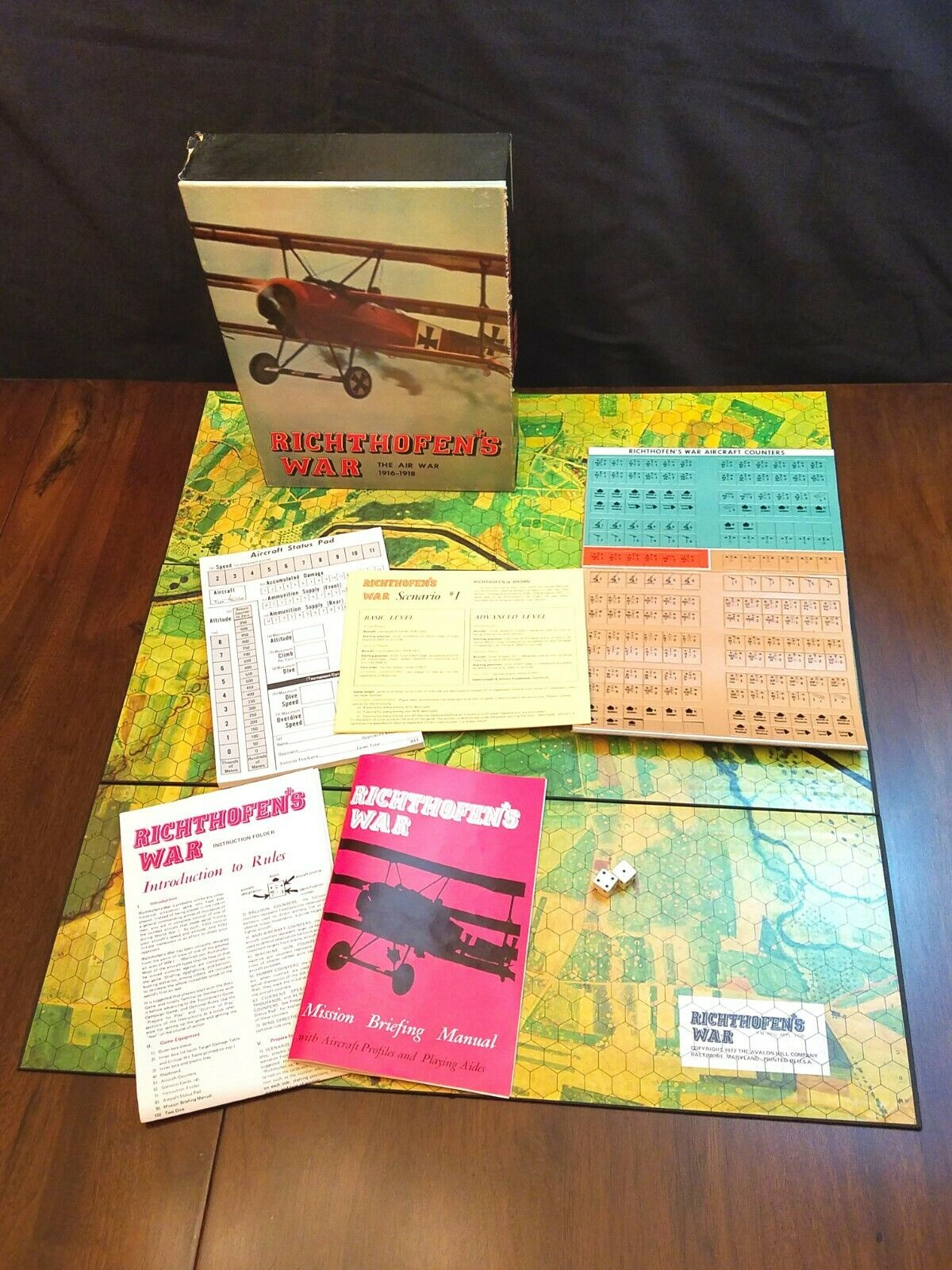 Richthofen's War Game Avalon Hill 1972 Complete Unpunched