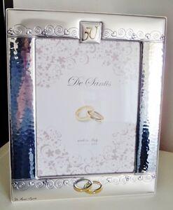 Anniversario Matrimonio Argento.Cornice Foto Argento 925 Strass Nozze Oro Fedi 50 Anni