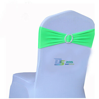 50 Lots Elastic Wedding Chair Cover Sashes Buckle Bow Party Banquet Decoration