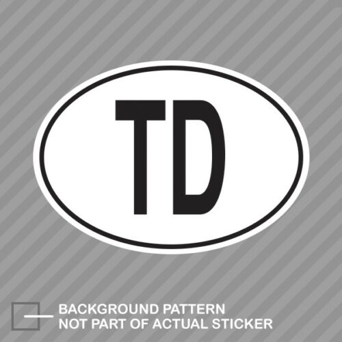 TD Chad Country Code Oval Sticker Decal Vinyl Chadian euro