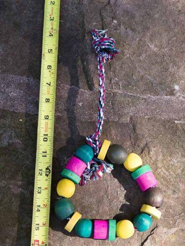 "Wooden Ring Bird Toy 14/"" Tall Brand New   #3056 1/"" diameter beads /& blocks"