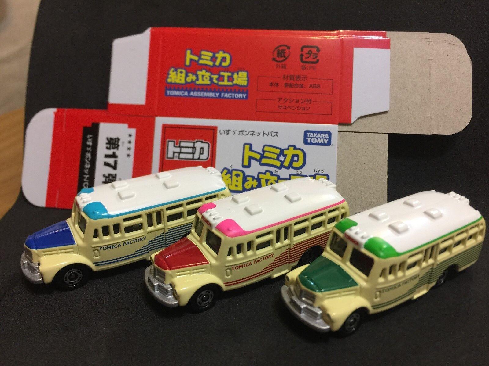 Tomica Assembly Factory Vol 17 Isuzu Bonnet Bus set of 3 Mint w box