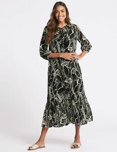 RRP-45-NEW-M-amp-S-COLLECTION-Palm-Print-3-4-Sleeve-Tunic-Midi-Dress-SZS-6-22
