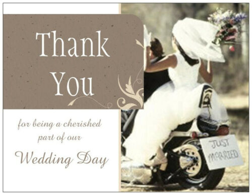 20 MOTORCYCLE Harley Wedding THANK YOU Flat Cards Envelopes Seals