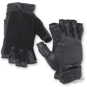 BLACK-LEATHER-PADDED-TACTICAL-FINGERLESS-MILITARY-GLOVES-KNUCKLE-ARMY-SPEC-OPS