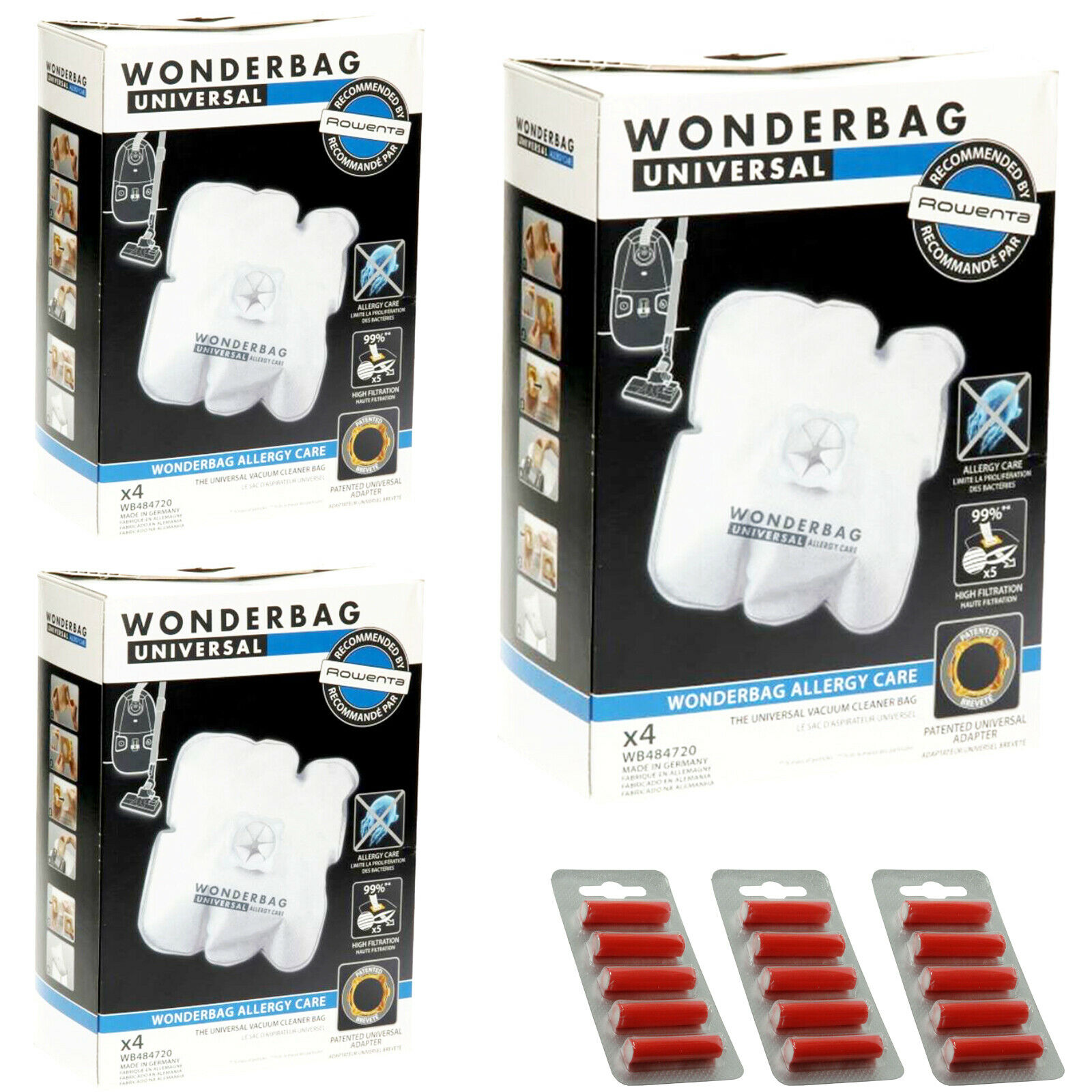 12 x Wonderbag Allergy Care Vacuum Cleaner Dust Bags ROWENTA TEFAL MOULINEX + Fr