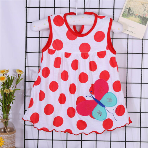 Toddler Girls Baby Infant Sleeveless Dress Cartoon Dot Tees Dress T-Shirt Vest