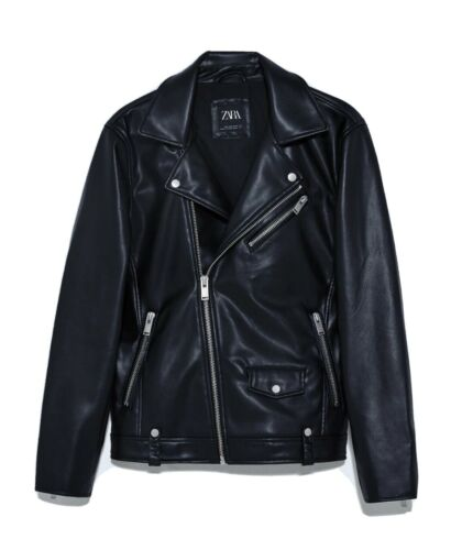 Zara Men's Leather Biker Moto Jacket Large