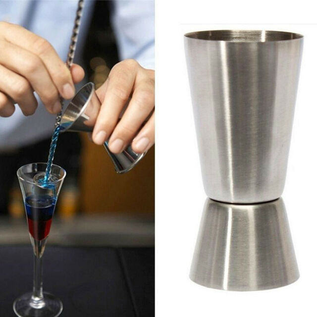 Cup Cocktail Jigger Single Double Shot Short Drink 25/50ml Spirit Measure Party