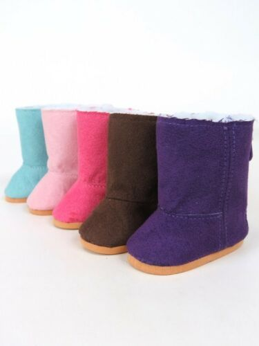 Suede Hot Pink Boots w//Sherpa Fur Lining for 18/'/' Dolls American Fashion World