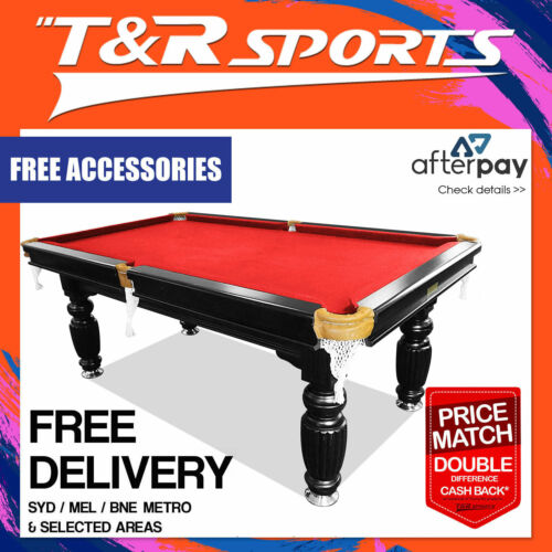 Mace 8FT Black Frame Red Felt Slate Billiard Pool Table with Full Accessories Package