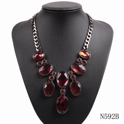 2018 New Design Fashion Black Chain Bib Chunky Statement Choker Crystal Necklace