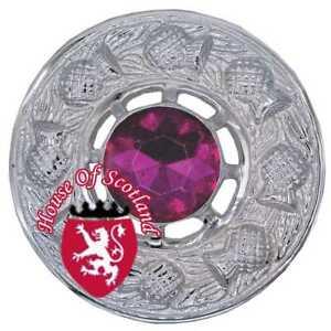 """Actif Hs Écossais Kilt Fly Plaid Broche Fuchsia Stone Chrome Chardon Broches Femmes 3""""-afficher Le Titre D'origine"""