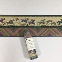 Gramercy Wallpaper Border Southwestern Aztec Indian Tan Green Horse Buffalo