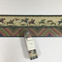 Gramercy Wallpaper Border Southwestern Aztec Indian Tan Green Horse Buffalo