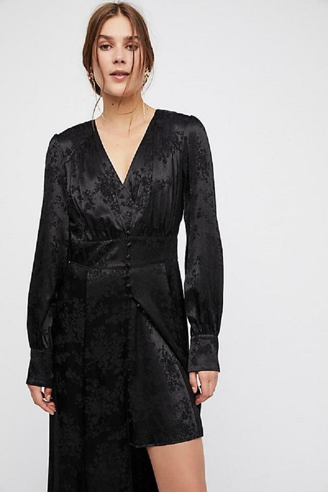 NWT Free People damen schwarz Walk Me Home Jacquard Long Sleeves Dress Set (0)