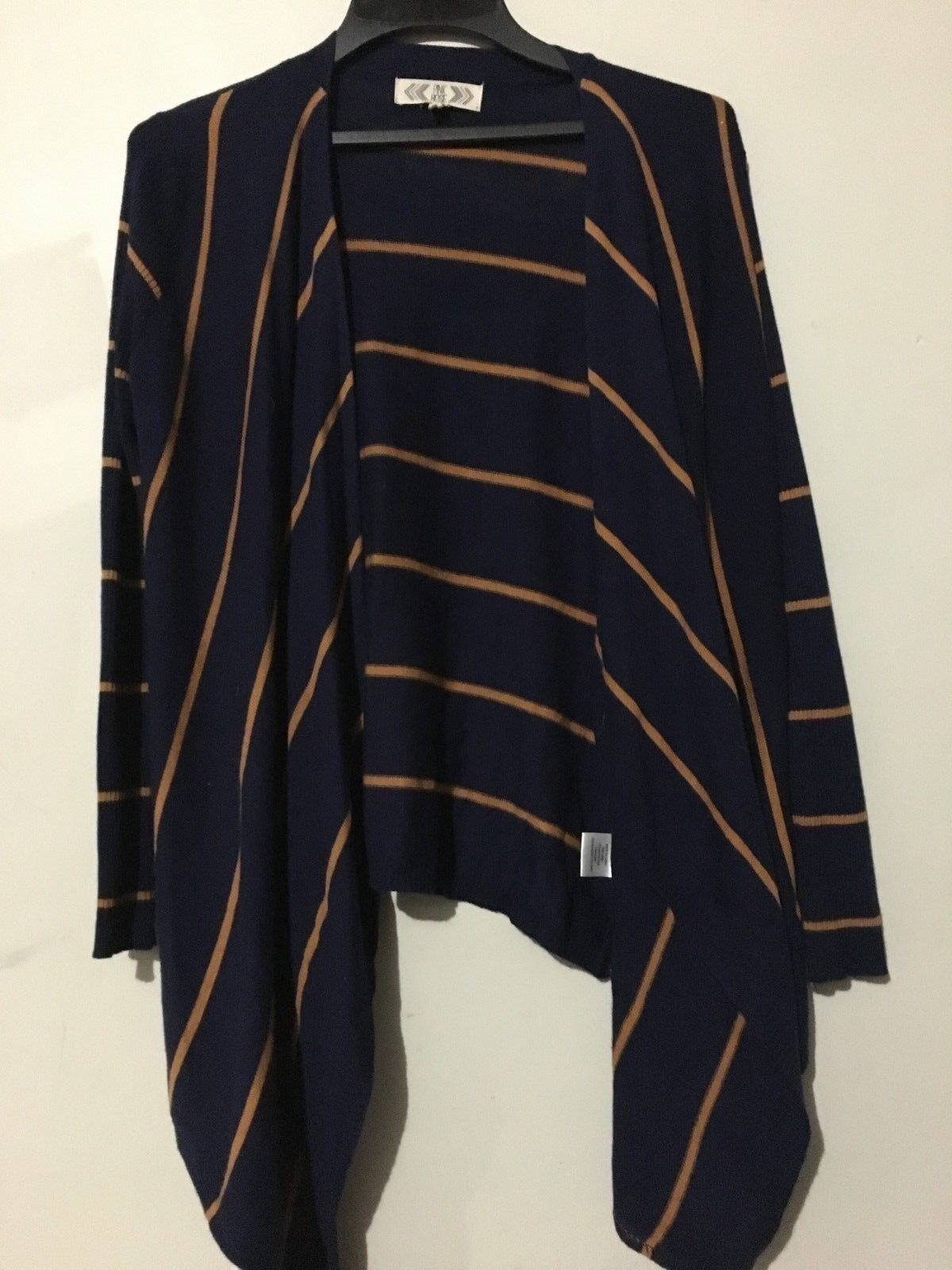 Pink pink Navy Caramel Stripe Cardigan Cape Poncho Size S Sweater Women Stylish
