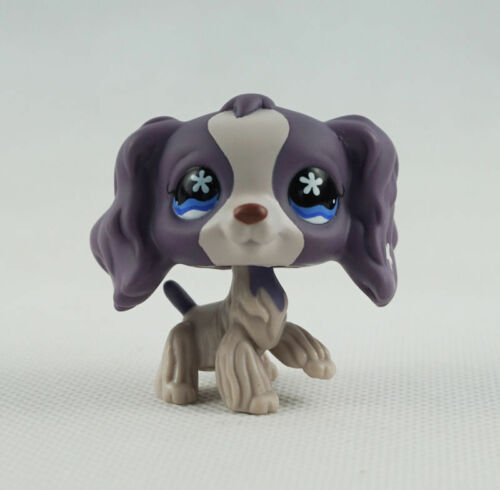 lttlest pet shop Lps286 Figure Gray cocker spaniel dogs puppy blue eyes