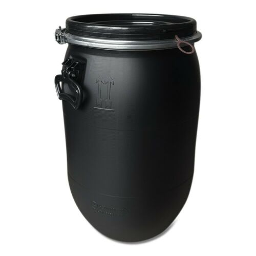 60 Liter Fass Tonne Behälter mit Deckel Spannring dicht verschließbar schwarz