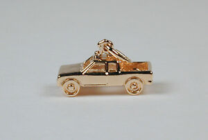 Gold-Plated-Sterling-Silver-Pickup-Truck-Charm-Free-U-S-Shipping