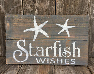 Details About Beach Cabin Sign Starfish Wishes Seaside Cottage Rustic Wood Wall Art Hp Decor