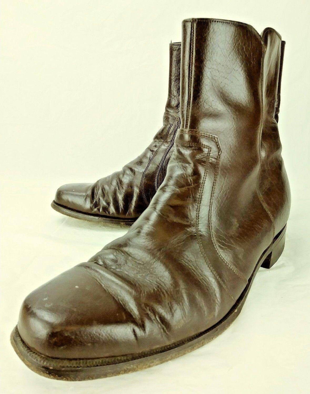 vntg Florsheim Shoe Mens Boots 723492 US 9.5 E Brown Leather Zip hipster 3069