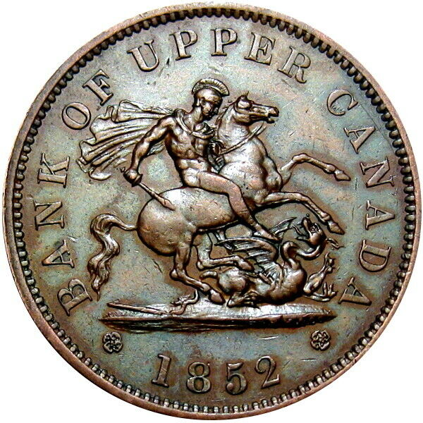 1852 Bank Of Upper Canada Penny Token Dragon Breton 719