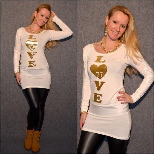 Stylische Tunika mit LOVE print WEISS