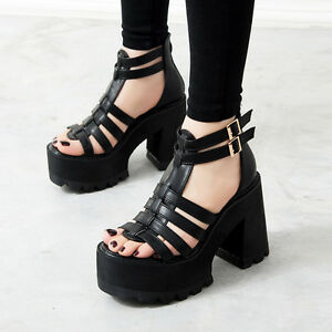 Womesn-Chunky-Heels-Platform-Strap-Buckle-Open-Toe-Sandals-Gladiator-Punk-Shoes