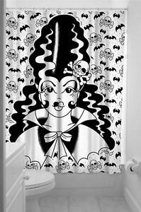 Image Is Loading Sourpuss Frankengal Bride Of Frankenstein Fabric Shower Curtain