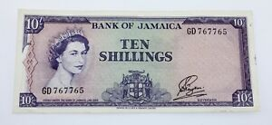 1960-Jamaica-10-Shillings-Note-XF-Condition-Pick-50