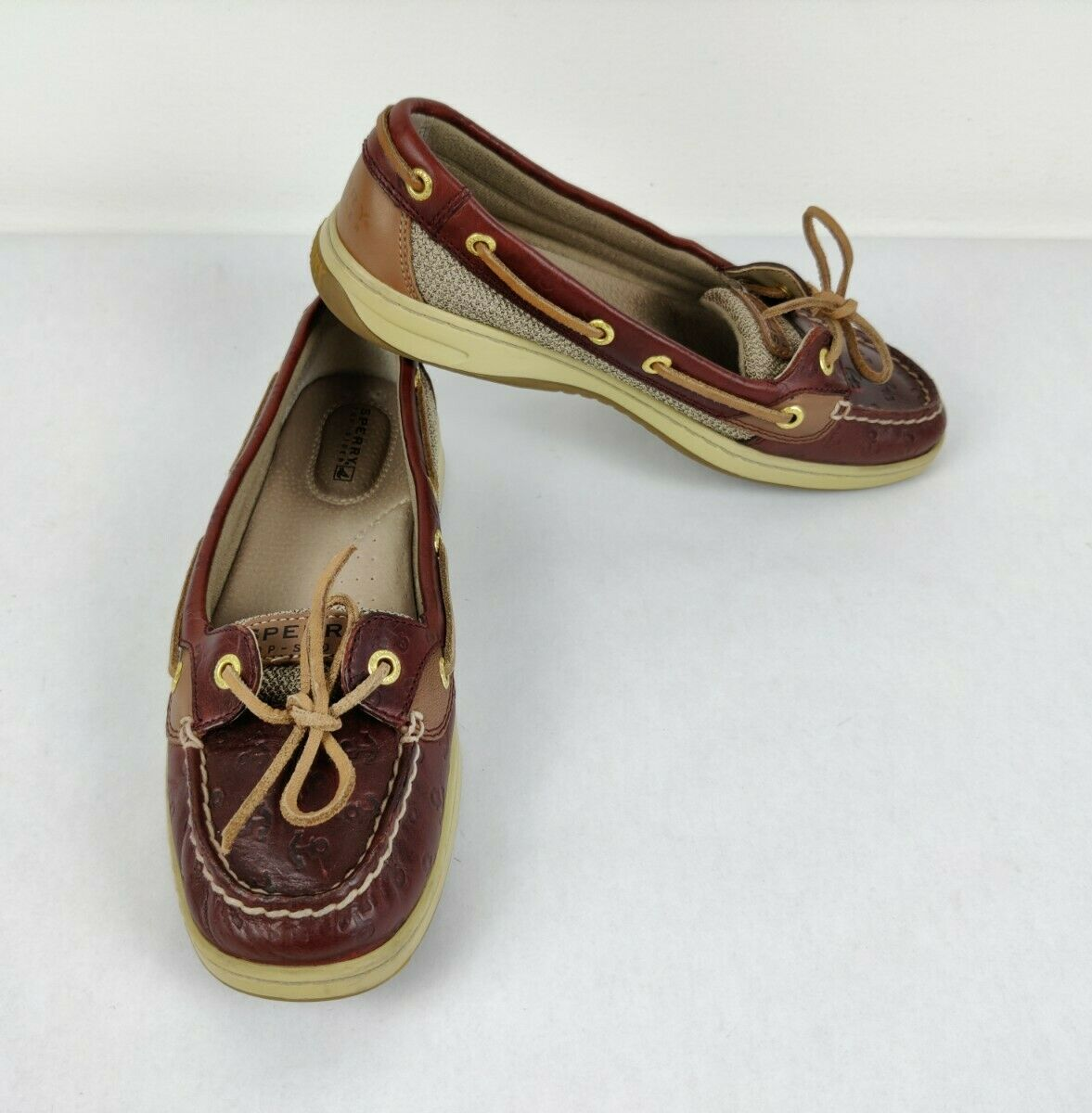 Sperry Top Sider Anglefish Cordovan Anchor Brown Boat Shoes 9102898 Size 8M