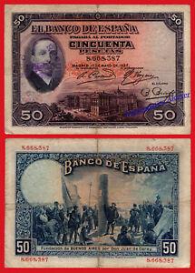 ESPANA-SPAIN-50-Pesetas-1927-REBUBLICA-Alfonso-XIII-Con-sello-Pick-80-BC-F