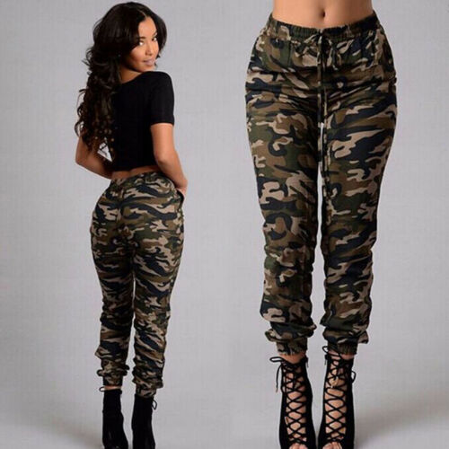 Women/'s Camo Trousers Elastic Casual Pants Military Army Combat Camouflage J